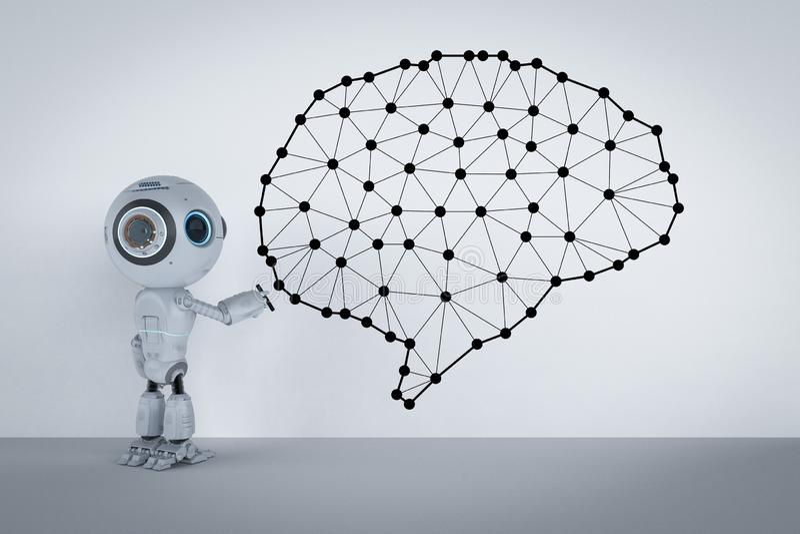 Miniroboter mit Gehirn stockfoto