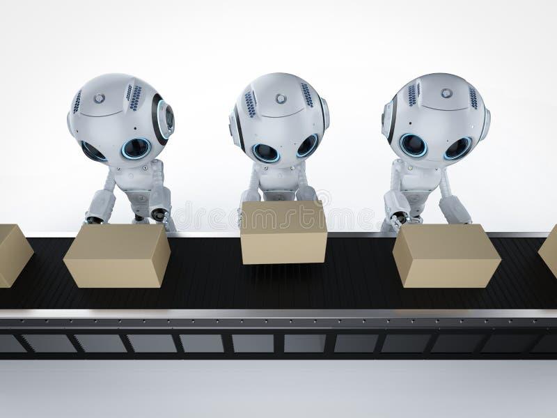 Miniroboter mit Kästen lizenzfreie abbildung