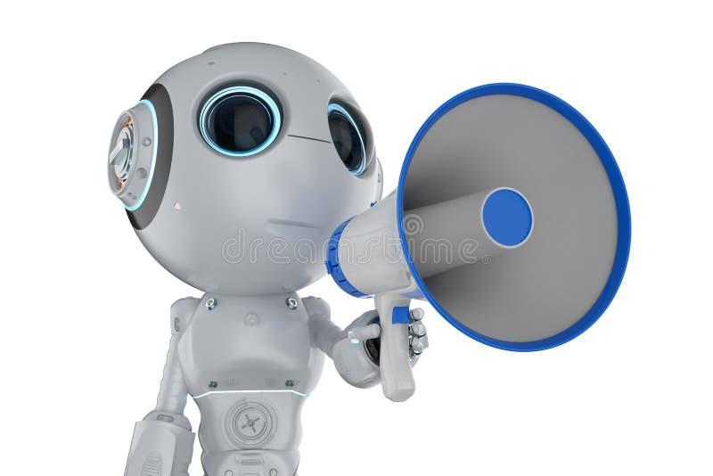Miniroboter mit Megaphon lizenzfreie abbildung