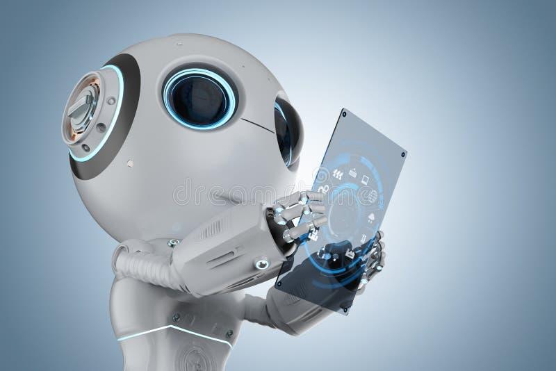 Miniroboter mit Tablette vektor abbildung