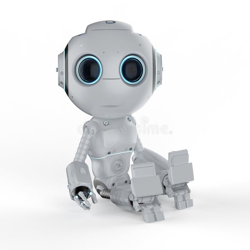 Miniroboter sitzen stock abbildung