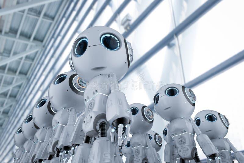 Minirobotsassemblage stock illustratie