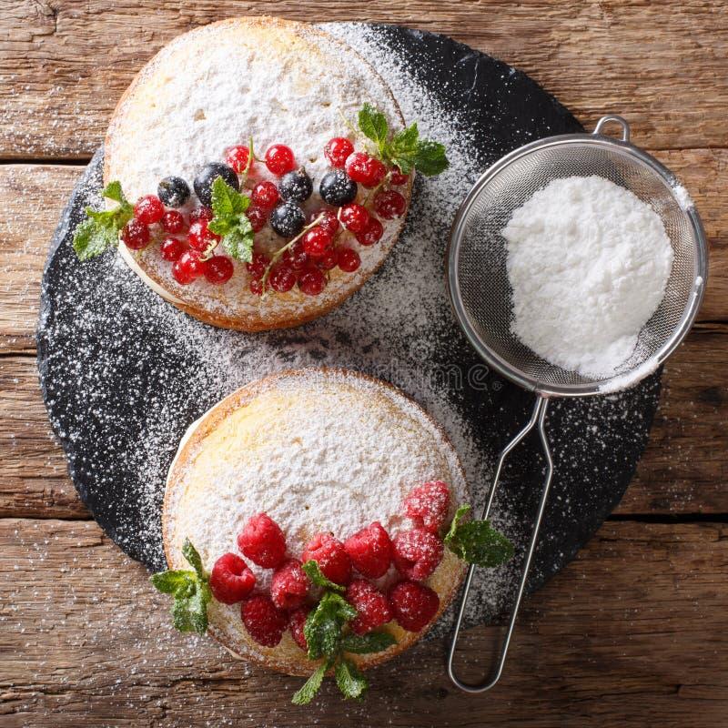 Minisandwichcake met zwarte en rode aalbes, framboos en min stock afbeeldingen