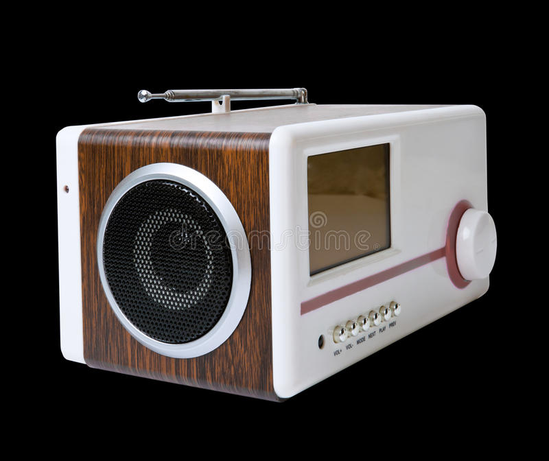 Minispeaker. Audio box for mobile phones and laptops with card-reader, amplifier and MP3 player stock images