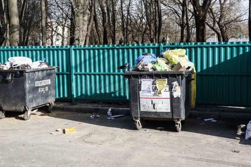 minister Białoruś Marzec 9, 2019 _ zbiornik z mnóstwo gratem Tam są ptaki ułożony zdjęcia stock