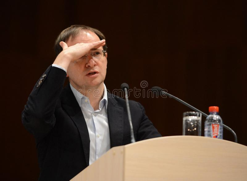 The Minister of Culture of the Russian Federation Vladimir Medinsky is giving a lecture in Kaluga. KALUGA, RUSSIA -NOVEMBER 6, 2017:The Minister of Culture of royalty free stock image