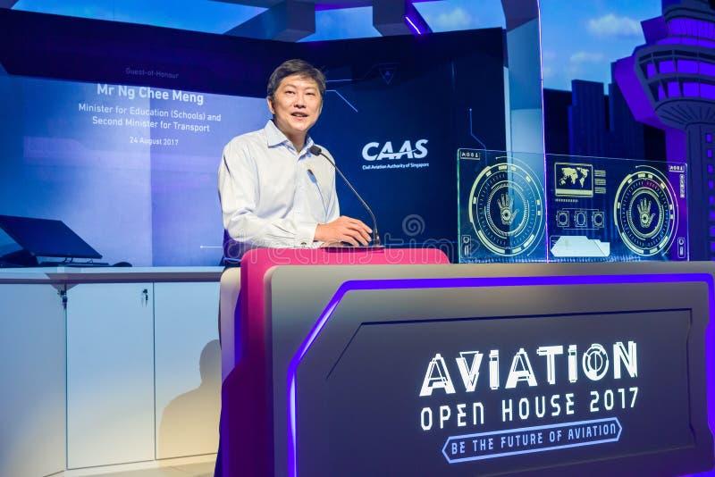 Minister Eröffnungsrede Ng Chee Meng stockbild