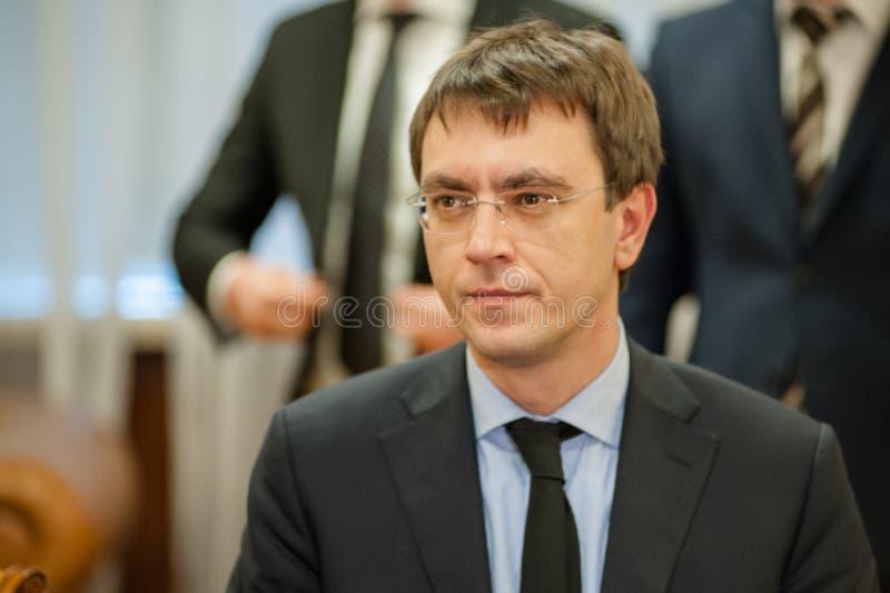 Minister infrastruktura Ukraina i USA Ambassador w Ukraina podpisywał memorandum obrazy stock