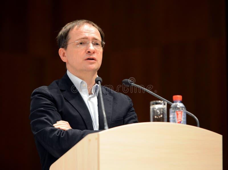 Minister kultura federacja rosyjska Vladimir Medinsky daje wykładowi w Kaluga obraz royalty free
