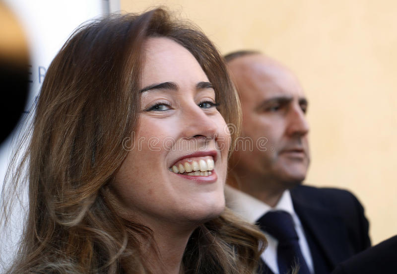 MINISTER MARIA ELENA BOSCHI. THE MINISTER OF THE REPUBLIC OF ITALIAN MARIA ELENA BOSCHI,POLITC royalty free stock photo