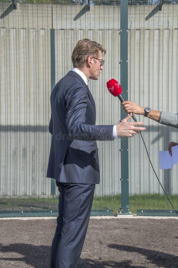 Minister Sander Dekker Interviewed By Broadcaster Flevoland At Almere The Netherlands 2018. Opening after moving from Utrecht To A. Minister Sander Dekker stock photos