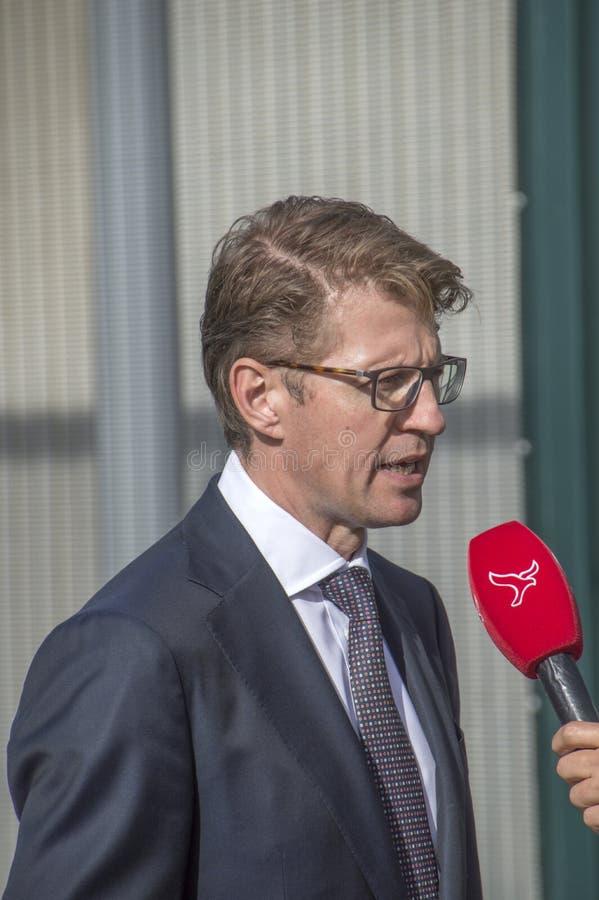 Minister Sander Dekker Interviewed By Broadcaster Flevoland At Almere Th Netherlands 2018. Opening after moving from Utrecht To Al. Minister Sander Dekker stock photography