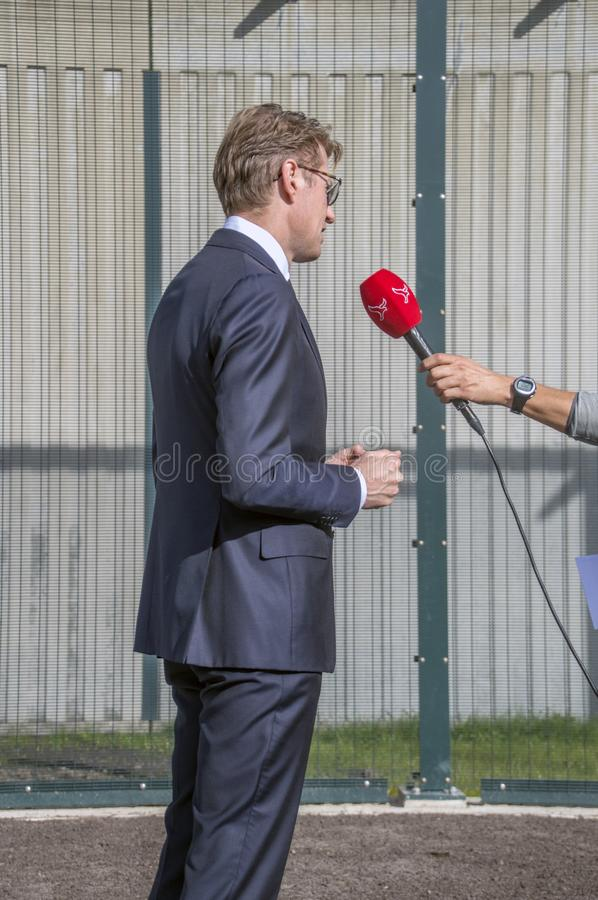 Minister Sander Dekker Interviewed By Broadcaster Flevoland At Almere Th Netherlands 2018. Opening after moving from Utrecht To Al. Mere City The Netherlands royalty free stock photo