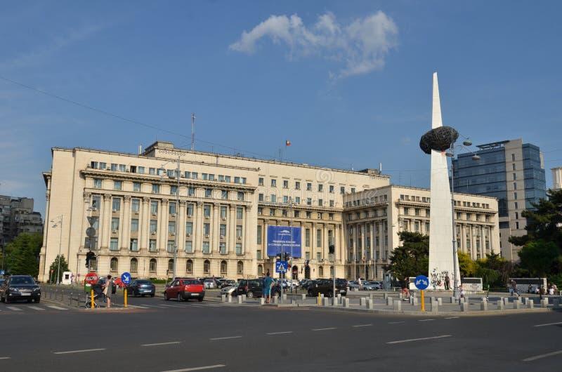 Ministerie van Binnenland de bouw en Gedenkteken van Wedergeboorte, Boekarest, Roemenië stock fotografie