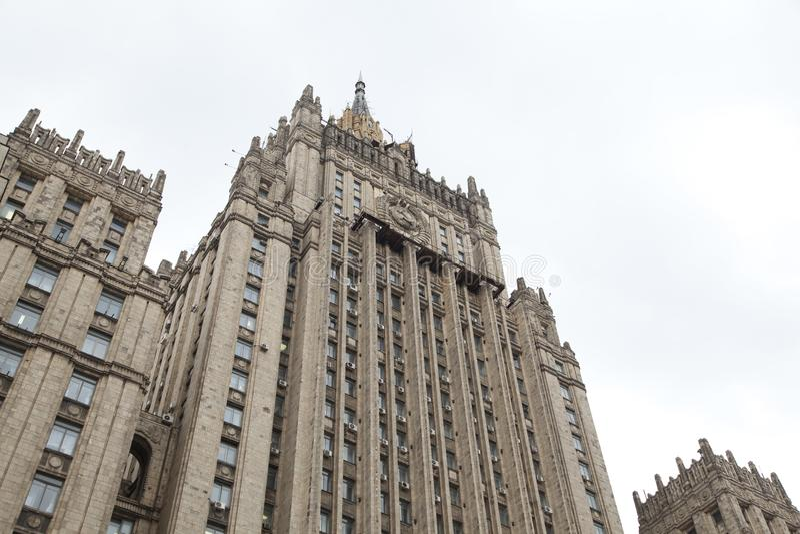 Ministerie van Buitenlandse zaken die, Moskou, Rusland bouwen stock foto