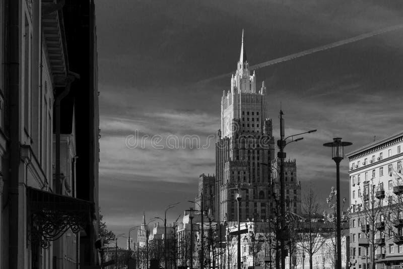 Ministerie van Buitenlandse zaken die in Moskou, Rusland buiding stock afbeelding