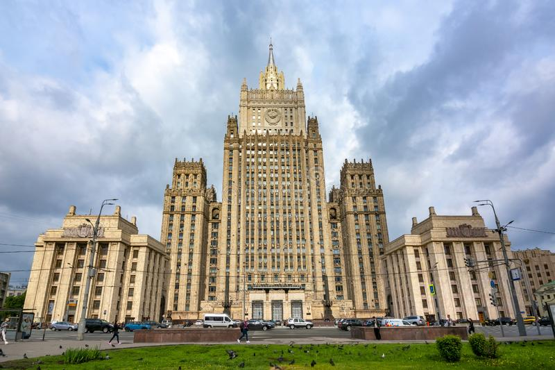 Ministerie van Buitenlandse zaken van Russische Federatie in Moskou stock afbeeldingen
