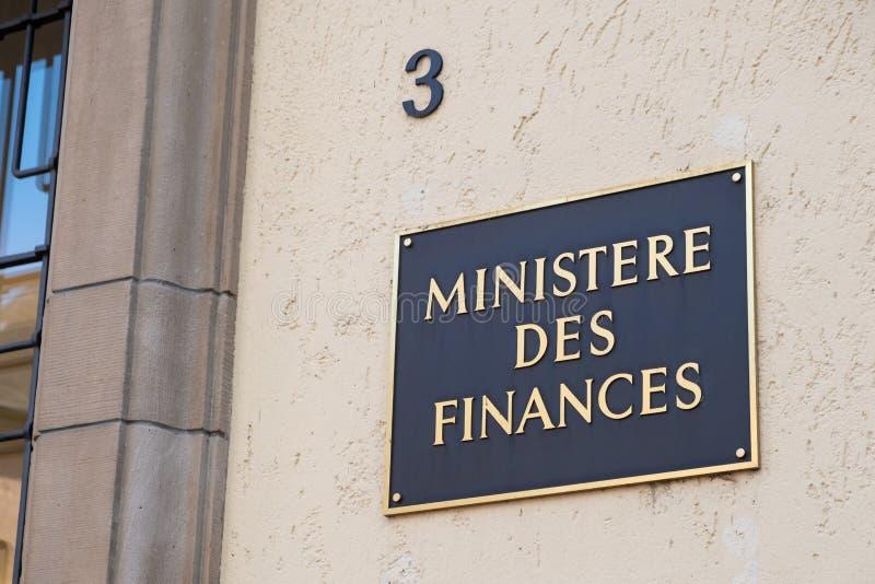 Ministerie van Financiën teken in het Frans in Luxemburg royalty-vrije stock foto's