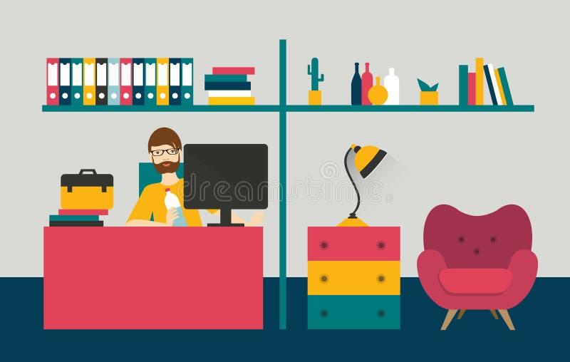 Ministerio del Interior del estilo retro Día del trabajo del hombre en el interior casero stock de ilustración