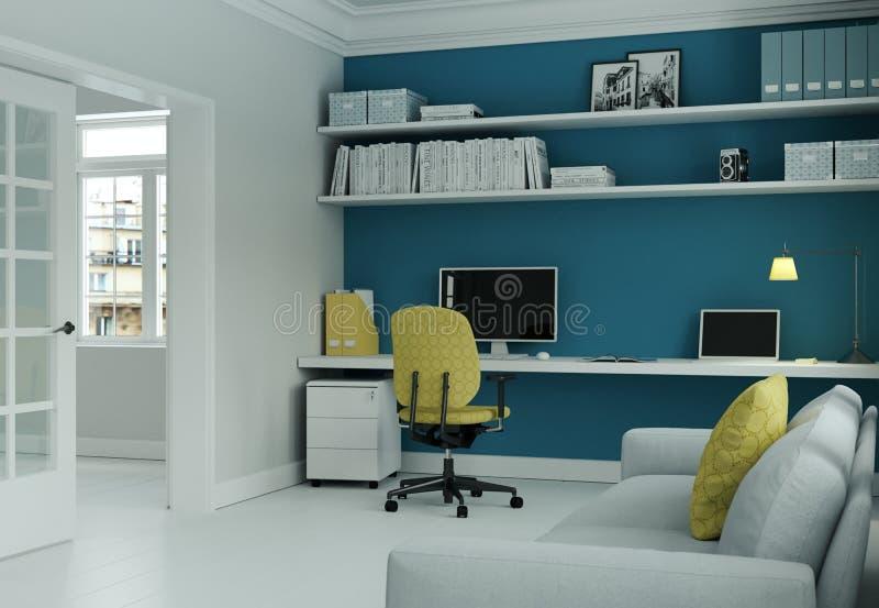 Ministerio del Interior moderno con la silla amarilla y la representación azul del diseño interior 3d de la pared stock de ilustración