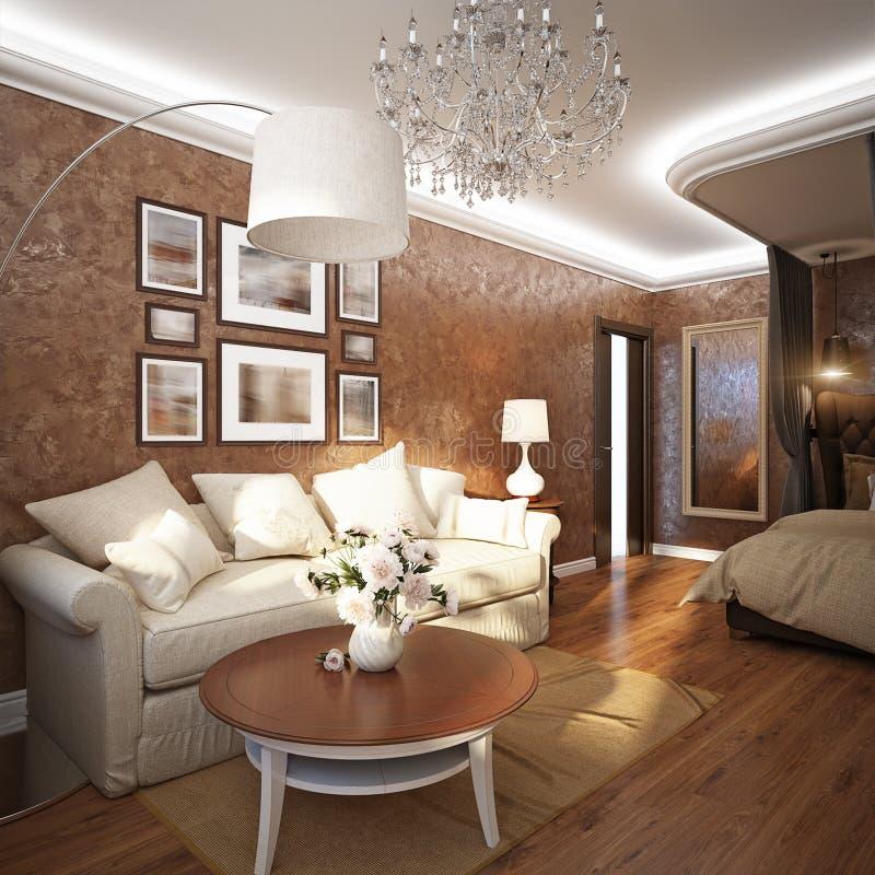 Ministerio del Interior, sala de estar o dormitorio del sitio moderno clásico ilustración del vector