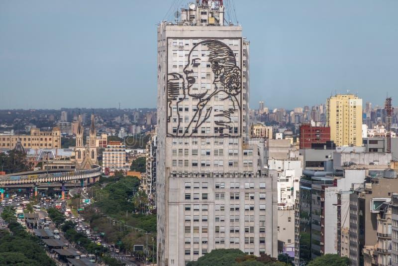 Ministero della sanità la costruzione con l'immagine di Eva Peron - Buenos Aires, Argentina fotografia stock libera da diritti