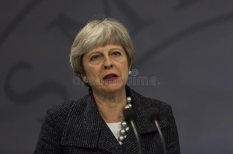 Ministre de Theresa May Visits Danish Prime dans Copepenhagen images libres de droits