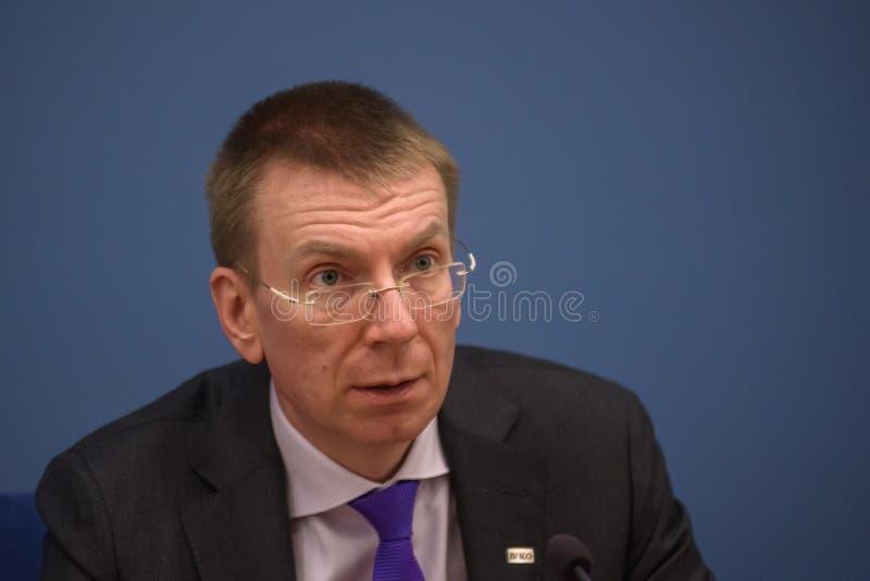 Ministre des affaires étrangères letton Edgars Rinkevics image stock