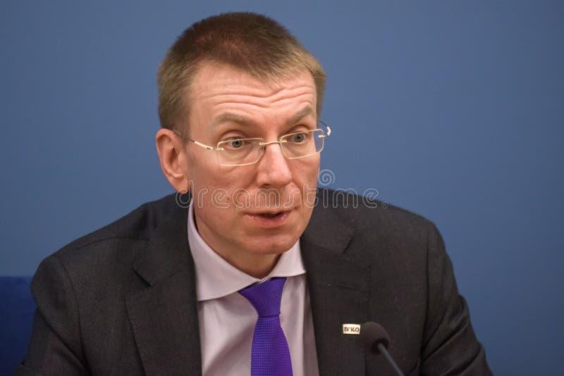 Ministre des affaires étrangères letton Edgars Rinkevics photographie stock libre de droits