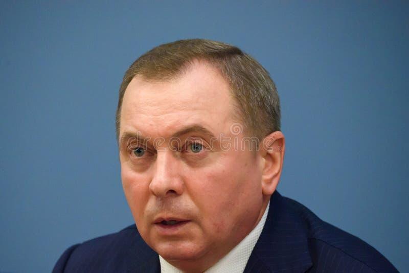 Ministro de asuntos exteriores de Bielorrusia, Vladimir Makei fotografía de archivo libre de regalías