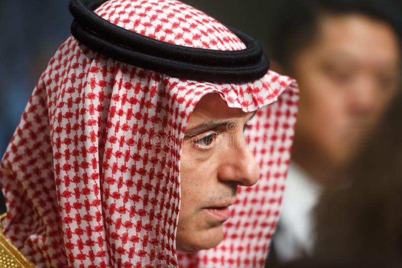 Ministro de asuntos exteriores de la Arabia Saudita Adel al-Jubeir imagenes de archivo