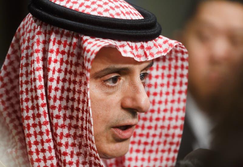 Ministro de asuntos exteriores de la Arabia Saudita Adel al-Jubeir fotos de archivo libres de regalías