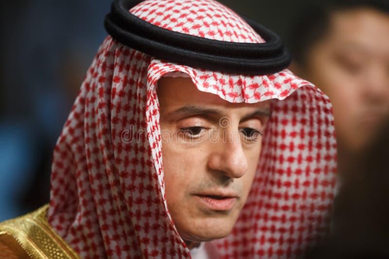Ministro de asuntos exteriores de la Arabia Saudita Adel al-Jubeir imagen de archivo libre de regalías