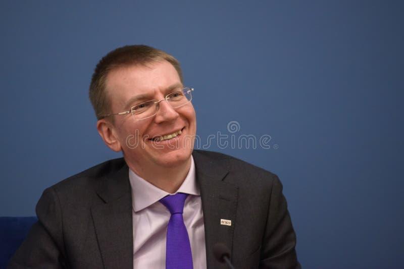 Ministro de los asuntos exteriores letón Edgars Rinkevics imagen de archivo
