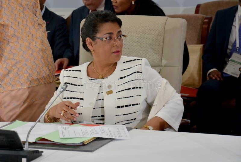 Ministro degli affari esteri Beatrice Atallah del Madagascar al summit del Francophonie tenuto a Antananarivo, Madagascar fotografia stock