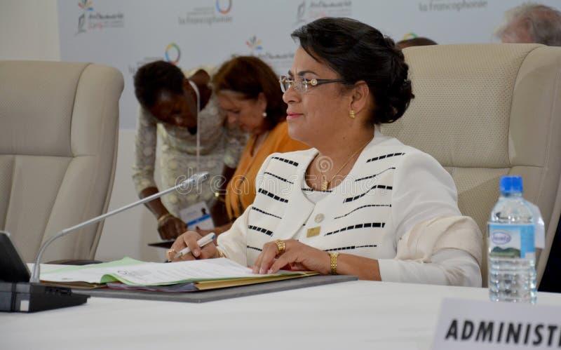 Ministro degli affari esteri Beatrice Atallah del Madagascar al summit del Francophonie tenuto a Antananarivo, Madagascar fotografie stock