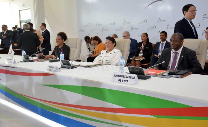 Ministro degli affari esteri Beatrice Atallah del Madagascar al summit del Francophonie tenuto a Antananarivo, Madagascar immagine stock libera da diritti