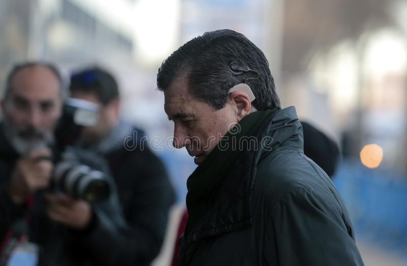 Ministro español del ambiente anterior que llega a la corte en Mallorca foto de archivo