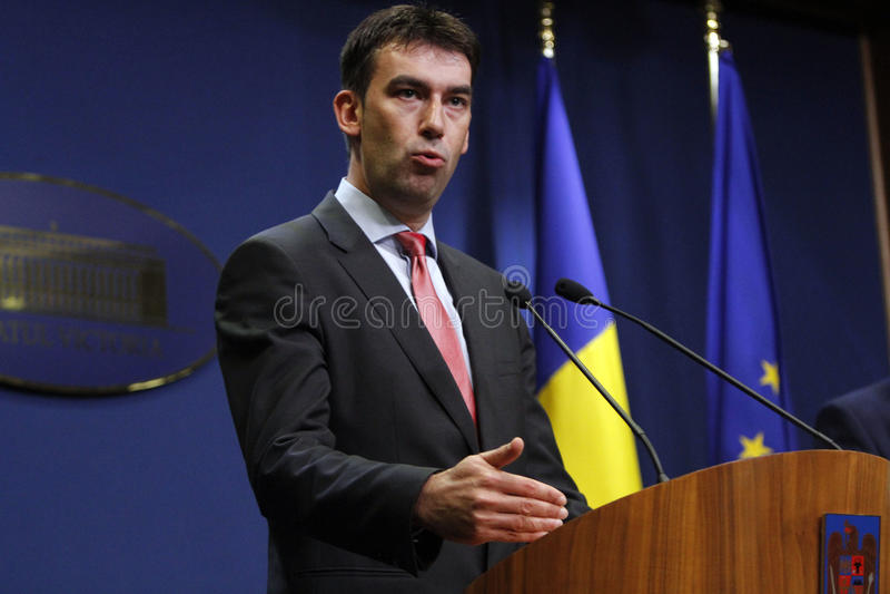 Ministro rumeno degli affari interni Dragos Tudorache fotografia stock