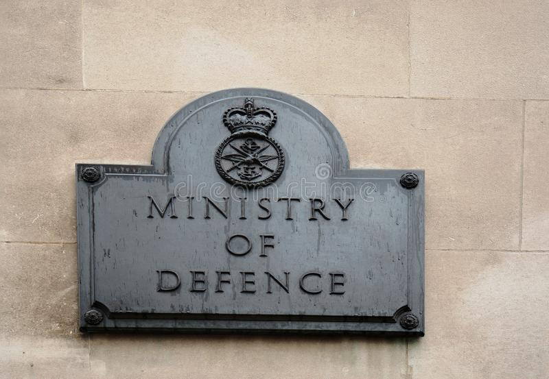 Ministry of Defence Signage on a clean brick wall background, London, uk, 2018. Ministry of Defence plaque. This is located on the wall of the MOD building in stock photo