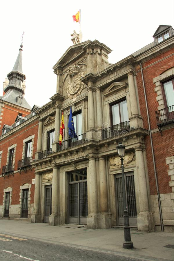 Ministry of Foreign Affairs of Spain. Building in Madrid. It is located in a historic Palacio de Santa Cruz, built between the years of 1629 and 1636. Palacio royalty free stock photography