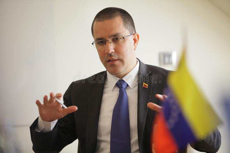 Belgrade, Serbia - March, 17. 2019: Ministry of foreign affairs of Venezuela Jorge Arreaza, speaking with Serbian jurnalist. Ministry of foreign affairs of royalty free stock photography