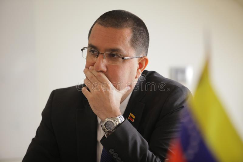 Belgrade, Serbia - March, 17. 2019: Ministry of foreign affairs of Venezuela Jorge Arreaza, speaking with Serbian jurnalist. Ministry of foreign affairs of stock photography