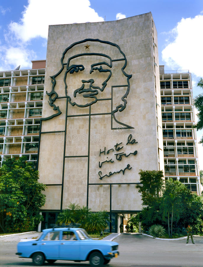 Ministry of the Interior building with Che guevara's portrait. Havana, Cuba - April 4: Steel outline of Ernesto Che Guevara's face aside the Ministry of the stock image