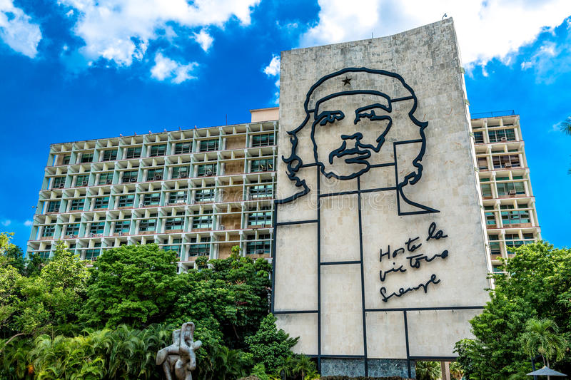 Ministry of the Interior building with face of Che Guevara located in Revolution Square, Cuba.  stock photography