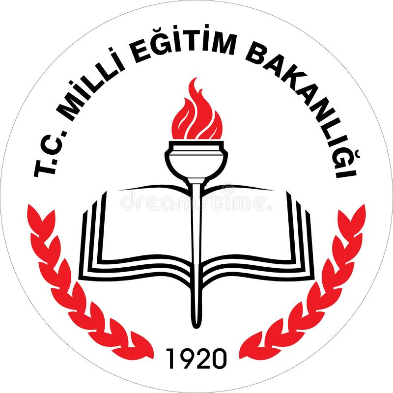 Ministry of National Education is a government ministry of the Republic of Turkey, logo stock illustration