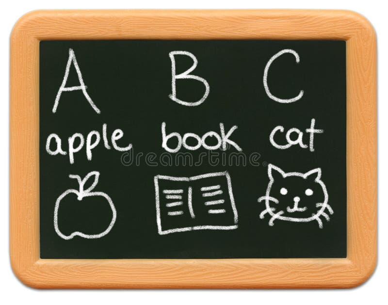 Minitafel des Kindes - A ist für Apple? lizenzfreies stockbild