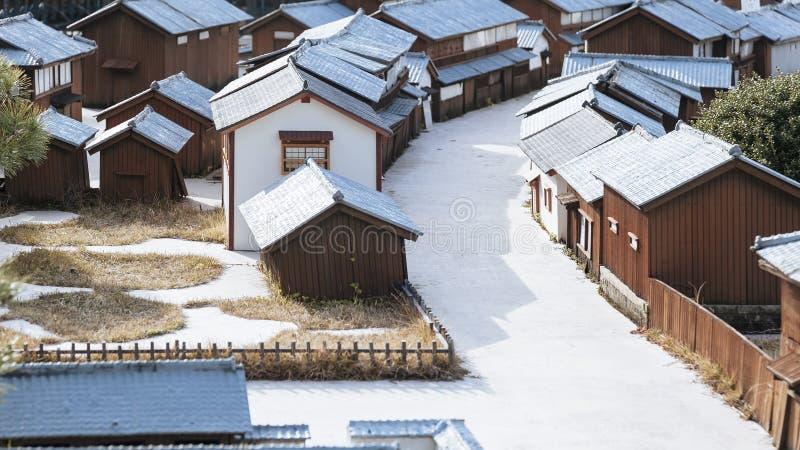 Miniture del modelo del pueblo de la casa de Japanses fotografía de archivo