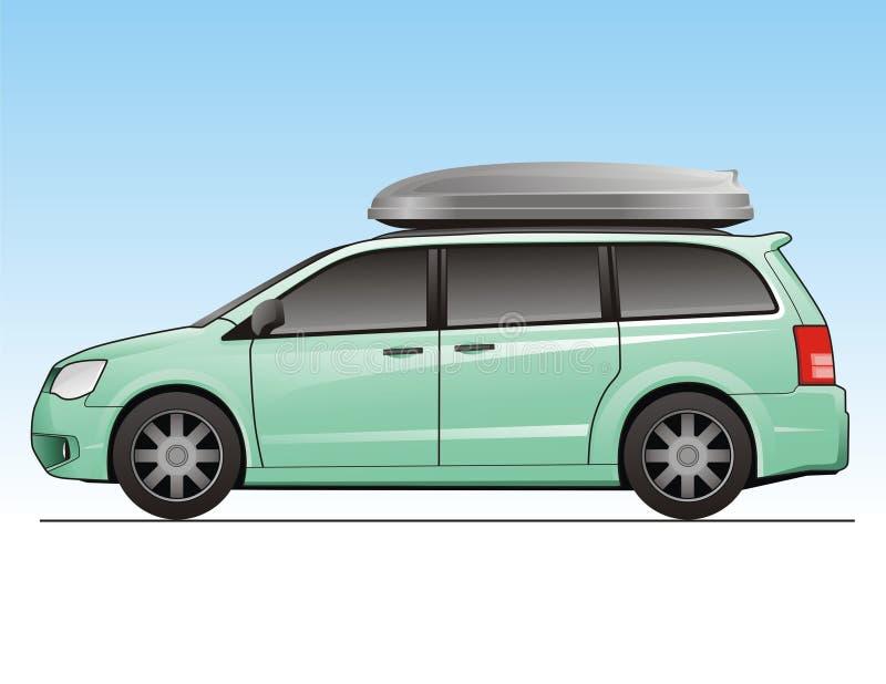 Minivan. With luggage box on top stock illustration
