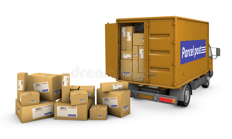 Minivan with boxes. Group of boxes and a minivan with boxes on a white background with clipping path royalty free illustration